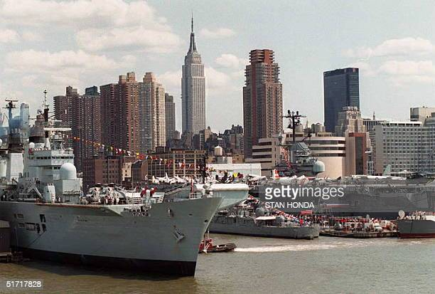 British Navy Carrier HMS Illustrious is docked on the west side of Manhattan near the Intrepid Museum in New York 22 May Sailors from twenty five...