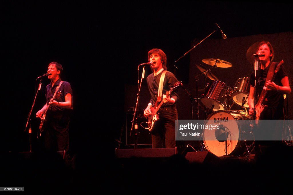 British New Wave band XTC performs onstage at the Park West Auditorium, Chicago, Illinois, February 8, 1980. Pictured are, from left, Andy Partridge, Colin Moulding, and Dave Gregory.