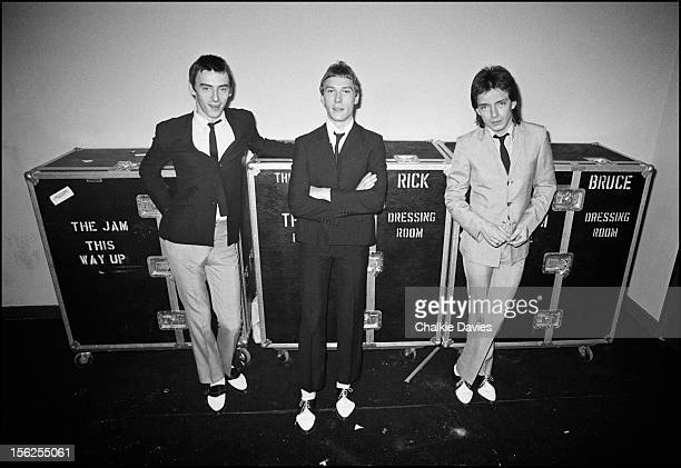 British new wave group The Jam pose with their individual wardrobe flight cases backstage at the Gaumont Southampton during their British tour 24th...