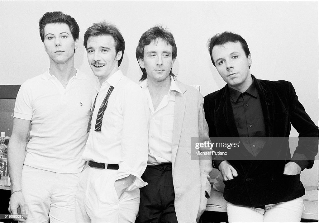British new wave group Ultravox UK August 1980 Left to right drummer Warren Cann singer and guitarist Midge Ure bassist Chris Cross and keyboard...