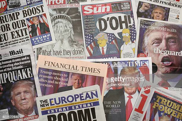 British newspapers show US Republican candidate and President Elect Donald Trump on their front pages the day after Trump was announced the winner in...