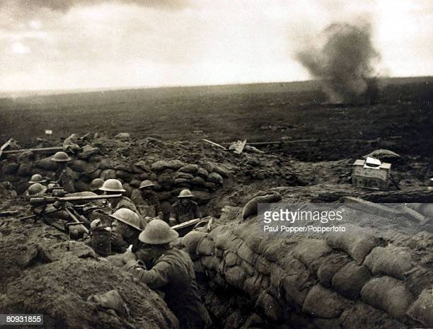 British north country troops awaiting an order to move forward during the Battle of the Menin Road on the Western Front 20th September 1917