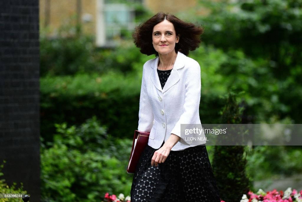 British Northern Ireland Secretary Theresa Villiers arrives to attend a cabinet meeting at 10 Downing Street in central London on June 27, 2016. European stock markets mostly slid Monday as British finance minister George Osborne attempted to calm jitters after last week's shock Brexit referendum. Britain's surprise referendum decision to leave the European Union wiped $2.1 trillion off market valuations on Friday and sent the pound collapsing to a 31-year low against the dollar. / AFP / LEON
