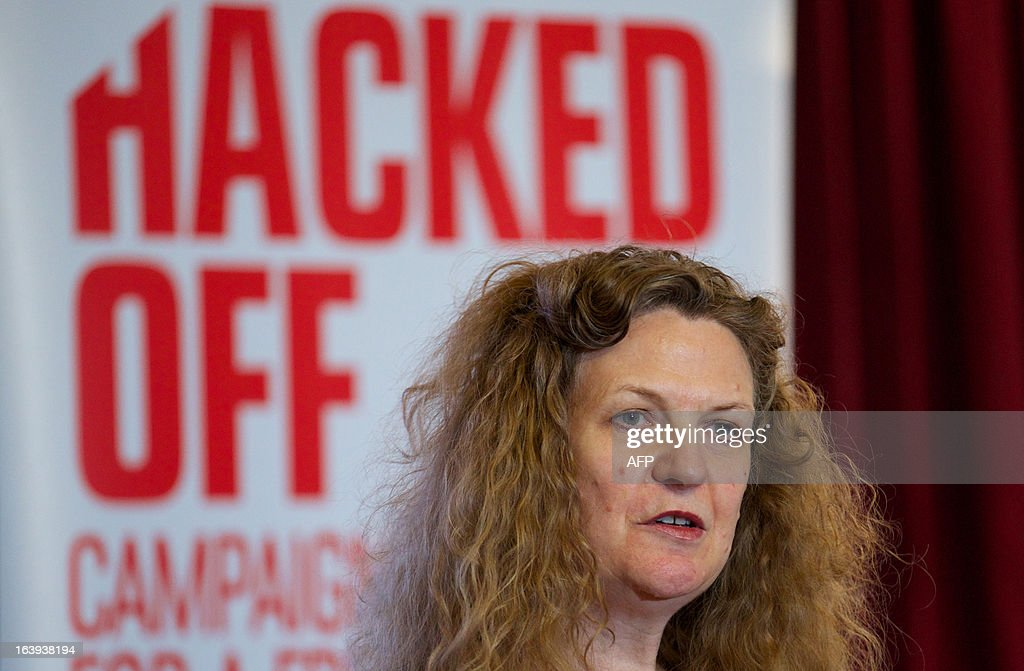 British novelist, journalist and human rights activist, Joan Smith, attends a Hacked Off press conference in London, on March 18, 2013, following the cross-party agreement on a new system of newspaper self-regulation that resulted from negotiations sparked by the Leveson Inquiry's review of press standards. Hacked Off, a campaign group that advocates for victims of press abuse, welcomed the cross-party agreement on implementing the Leveson recommendations on press self-regulation.