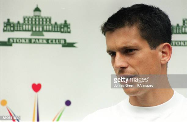 British number one tennis player Tim Henman during a photocall in Wimbledon London Henman announced that he will organise another celebity golf day...