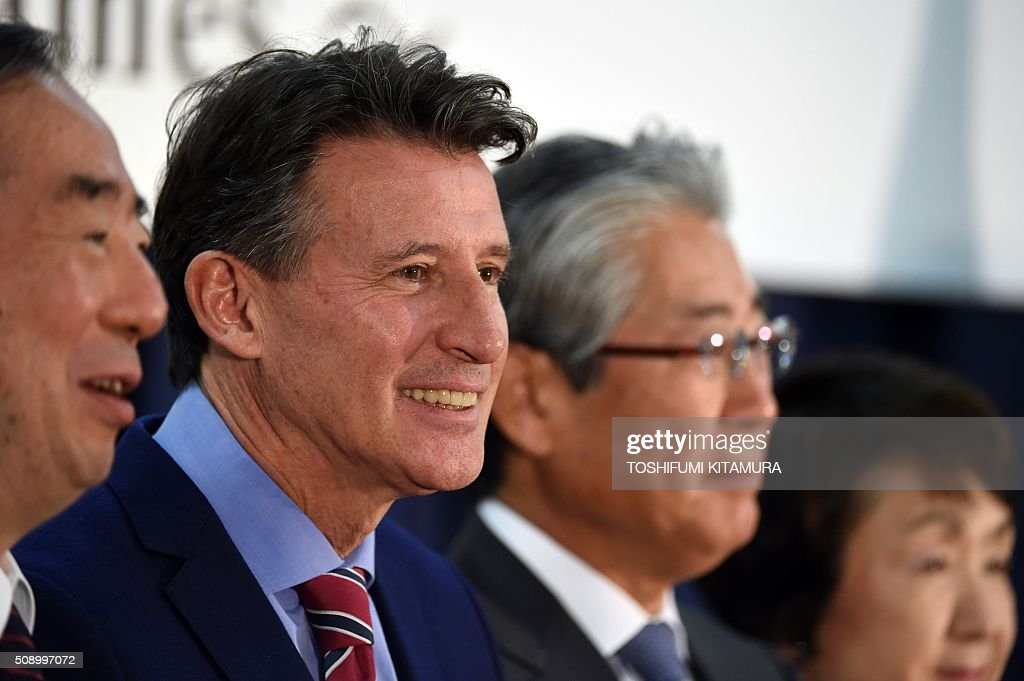 British Olympic Association chairman Sebastien Coe (2nd L) poses in a photo session with Keio University president Atsushi Seike (L), Japan Olympic Committee president Tsunekazu Takeda (2nd R) and Yokohama mayor Fumiko Hayashi (R) after their signing ceremony for the British team's Tokyo 2020 Olympic games preparation camp in Tokyo on February 8, 2016. AFP PHOTO / TOSHIFUMI KITAMURA / AFP / TOSHIFUMI KITAMURA