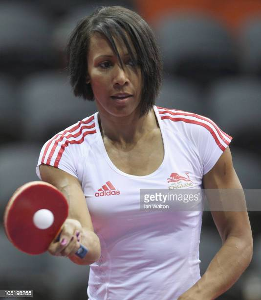 British Olympic athlete Dame Kelly Holmes shows off her table tennis skills at Yamuna Sports Complex during day nine of the Delhi 2010 Commonwealth...