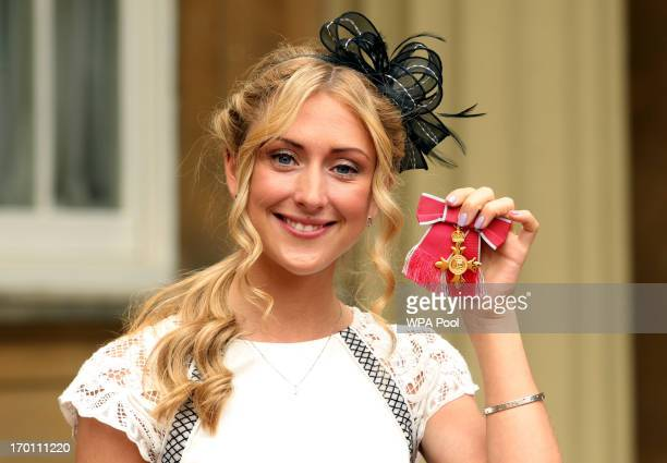 British Olympic cyclist Laura Trott after receiving her OBE medal from the Prince of Wales at an Investiture ceremony at Buckingham Palace on June 7...