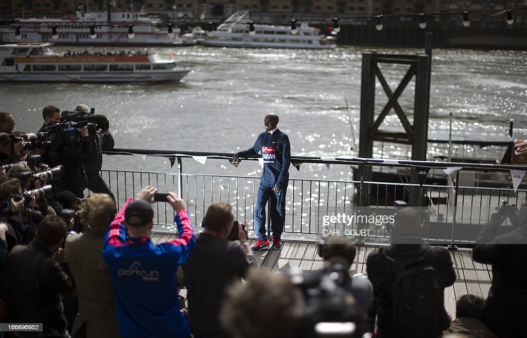 British Olympic double gold medallist Mo Farah poses for photographers in central London on April 18, 2013 during a photo call ahead of the London marathon. The London Marathon will go ahead as planned on April 21, 2013 after security arrangements were reviewed in the wake of the bombings that caused carnage at the Boston Marathon, organisers and police said.