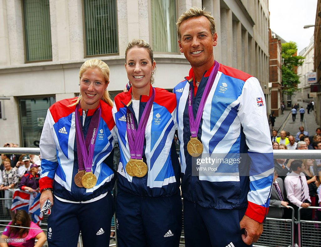 British Olympic gold medal winning dressage riders Laura Bechtolsheimer Charlotte Dujardin and Carl Hester during the London 2012 Victory Parade for...