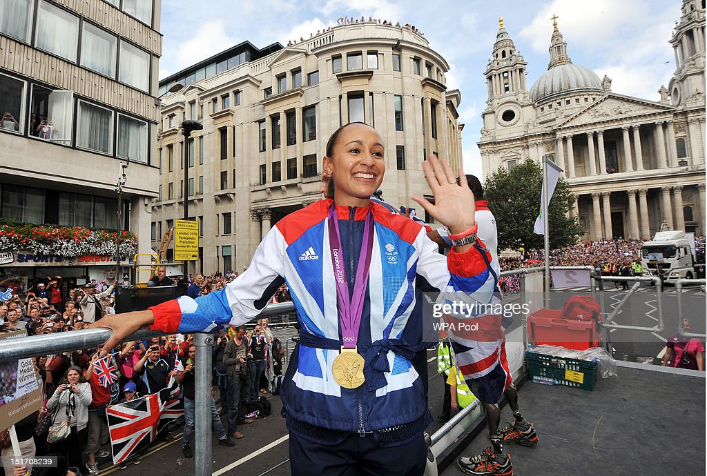 British Olympic heptathlon gold medalist <a gi-track='captionPersonalityLinkClicked' href=/galleries/search?phrase=Jessica+Ennis&family=editorial&specificpeople=602482 ng-click='$event.stopPropagation()'>Jessica Ennis</a> during the London 2012 Victory Parade for Team GB and Paralympic GB athletes on September 10, 2012 in London, England.
