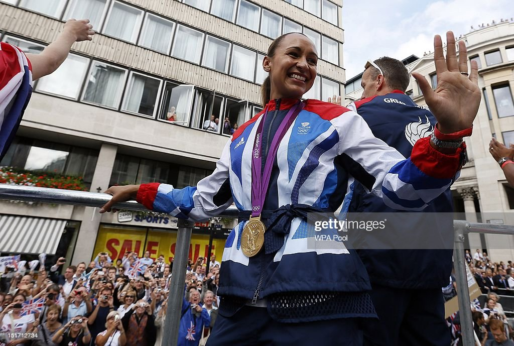 British Olympic heptathlon gold medalist Jessica Ennis during the London 2012 Victory Parade for Team GB and Paralympic GB athletes on September 10, 2012 in London, England.