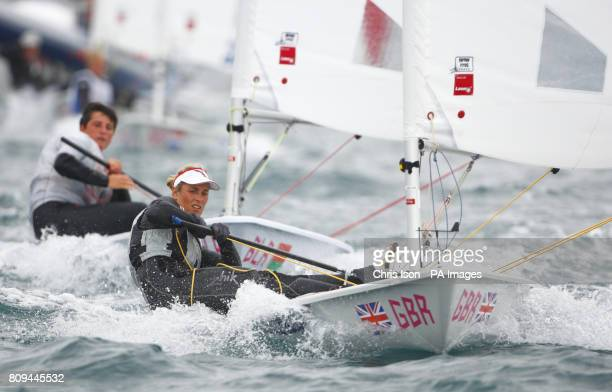 British Olympic hopeful Charlotte Dobson competes in the medal race in the Laser Radial class during the London Olympic Games 2012 Test event and...