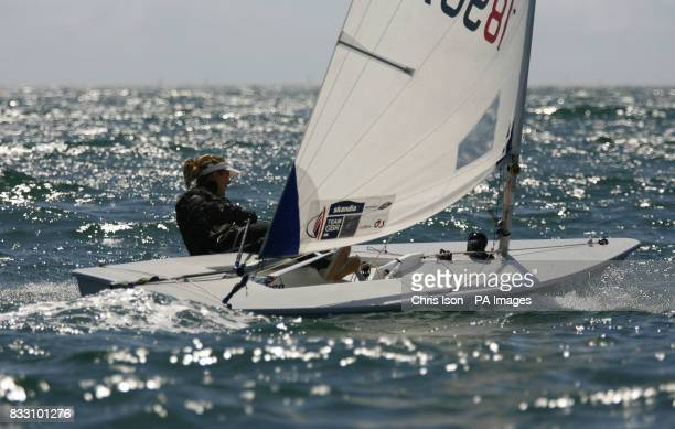British Olympic Sailing Team hopeful in the Laser Radial class Charlotte Dobson in action in Cascais Portugal where she is about to compete in the...
