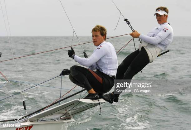 British Olympic Sailing Team hopefuls Dylan Fletcher and Alain Sign in action aboard their 49er class skiff in Cascais Portugal where they are about...
