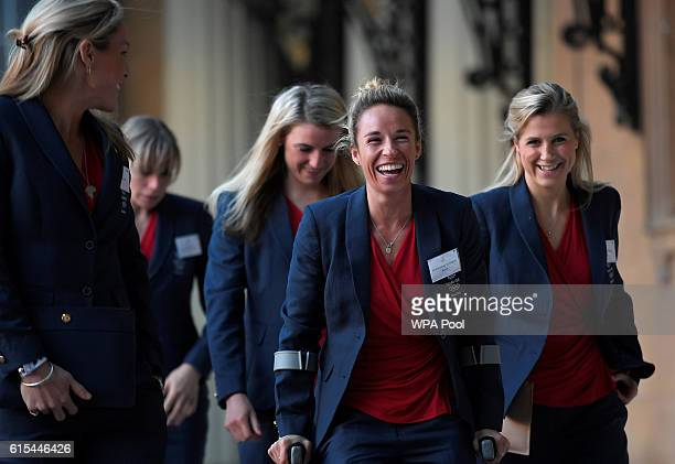 British Olympic women's hockey team members including Susannah Townsend arrive at a reception for Team GB's Olympic and Paralympic teams hosted by...