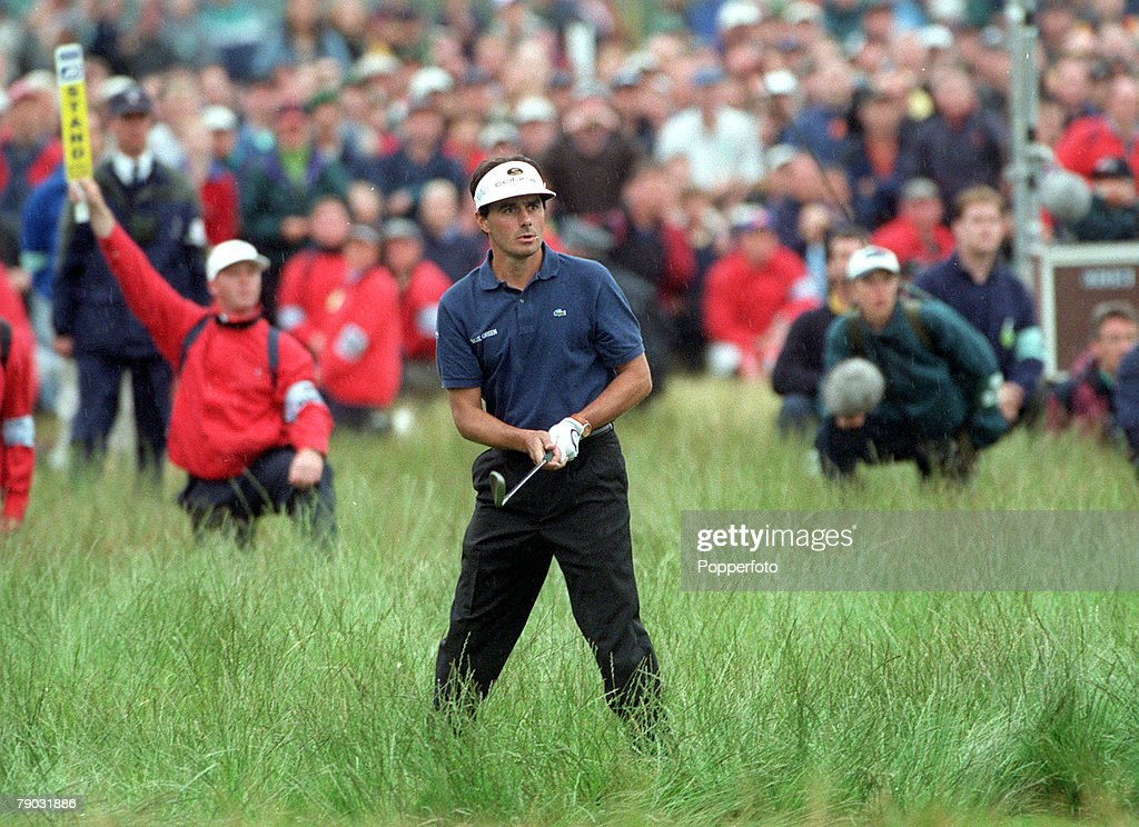 British Open Golf Championship, Carnoustie, Scotland, 15th-18th July, 1999, France's Jean Van De Velde plays his penalty shot at the 18th, resulting in a three way tie at the finish