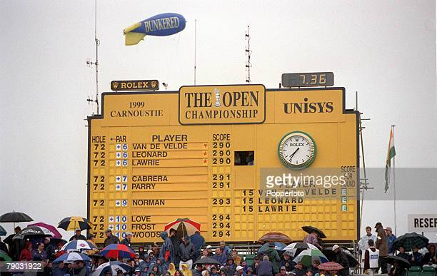 British Open Golf Championship Carnoustie Scotland 15th18th July The scoreboard shows France's Jean Van De Velde USA's Justin Leonard and Great...
