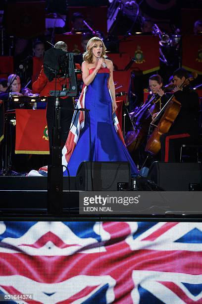 British opera singer Katherine Jenkins performs for The Queen during the final night of The Queen's 90th Birthday Celebrations at the Royal Windsor...