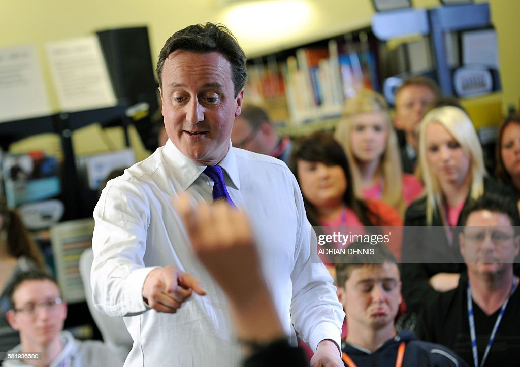 British opposition Conservative Party leader David Cameron addresses students at Cornwall College in Saltash near Plymouth southwest England on April...