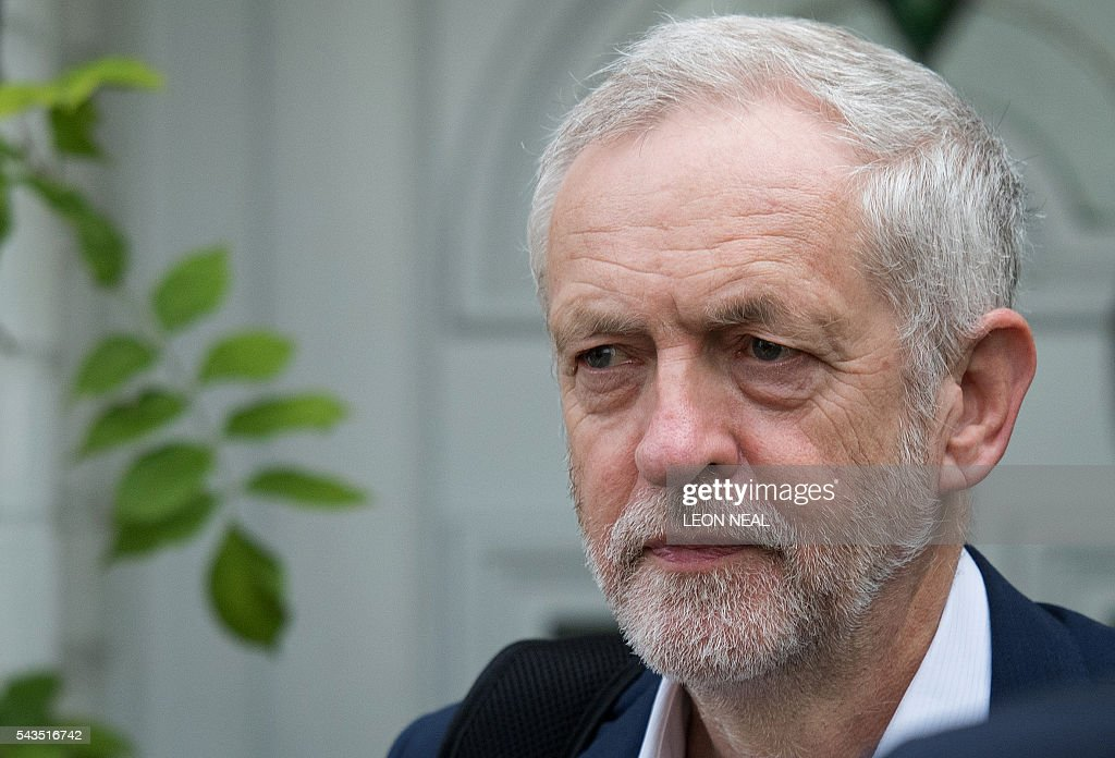 British opposition Labour Leader Jeremy Corbyn leaves his home in London on June 29, 2016. British opposition Labour lawmakers voted massively against their leader Jeremy Corbyn in a no-confidence motion Tuesday triggered by the Brexit crisis, but the veteran socialist refused to quit. Britain has been pitched into uncertainty by the June 23 referendum result, with Prime Minister David Cameron announcing his resignation, the economy facing a string of shocks and Scotland making a fresh threat to break away. / AFP / LEON