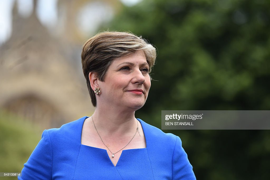 British opposition Labour MP and Shadow Secretary of State for Defence Emily Thornberry speaks during an interview with members of the media near the Houses of Parliament in central London on June 26, 2016. The future of opposition Labour leader Jeremy Corbyn looked shaky on Sunday after two members of his top team quit and others seemed set to follow over his handling of Britain's EU referendum. Corbyn sacked his foreign affairs spokesman, Hilary Benn, late Saturday after Benn said he no longer had confidence in his leadership, while health spokeswoman Heidi Alexander announced her resignation on Twitter Sunday. / AFP / BEN