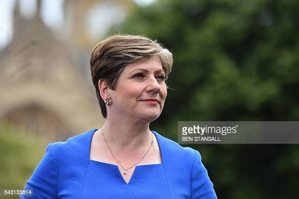British opposition Labour MP and Shadow Secretary of State for Defence Emily Thornberry speaks during an interview with members of the media near the...