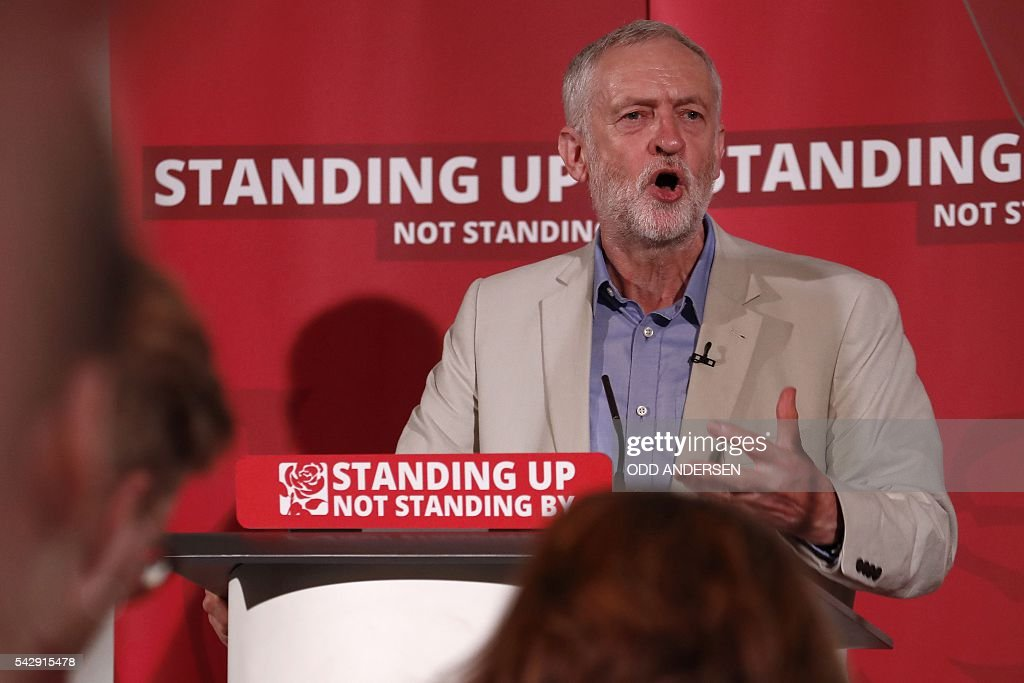 British opposition Labour Party leader Jeremy Corbyn delivers a speech following the pro-Brexit result of the UK's EU referendum vote, in central London on June 25, 2016. The result of Britain's June 23 referendum vote to leave the European Union (EU) has pitted parents against children, cities against rural areas, north against south and university graduates against those with fewer qualifications. Opposition Labour party leader Jeremy Corbyn was widely criticised for his lukewarm campaigning for Remain, and failing to reach out and persuade working class Labour voters who opted for Leave in droves. / AFP / ODD