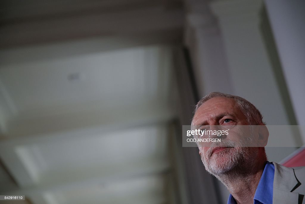 British opposition Labour Party leader Jeremy Corbyn delivers a speech following the pro-Brexit result of the UK's EU referendum vote, in central London on June 25, 2016. The result of Britain's June 23 referendum vote to leave the European Union (EU) has pitted parents against children, cities against rural areas, north against south and university graduates against those with fewer qualifications. London, Scotland and Northern Ireland voted to remain in the EU but Wales and large swathes of England, particularly former industrial hubs in the north with many disaffected workers, backed a Brexit. / AFP / ODD