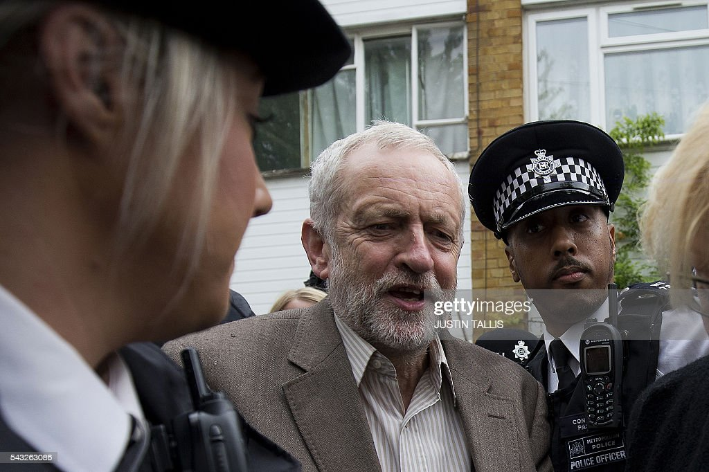 British opposition Labour Party Leader Jeremy Corbyn leaves his home in London on June 27, 2016. Britain should only trigger Article 50 to leave the EU when it has a 'clear view' of how its future in the bloc looks, finance minister George Osborne said Monday following last week's shock referendum. London stocks sank more than 0.8 percent in opening deals on Monday, despite attempts by finance minister George Osborne to calm jitters after last week's shock Brexit vote. / AFP / JUSTIN