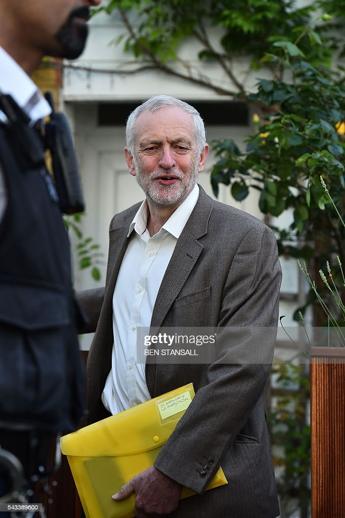 British opposition Labour Party Leader, Jeremy Corbyn leaves his home in London on June 28, 2016. EU leaders attempted to rescue the European project and Prime Minister David Cameron sought to calm fears over Britain's vote to leave the bloc as ratings agencies downgraded the country. Britain has been pitched into uncertainty by the June 23 referendum result, with Cameron announcing his resignation, the economy facing a string of shocks and Scotland making a fresh threat to break away. / AFP / BEN