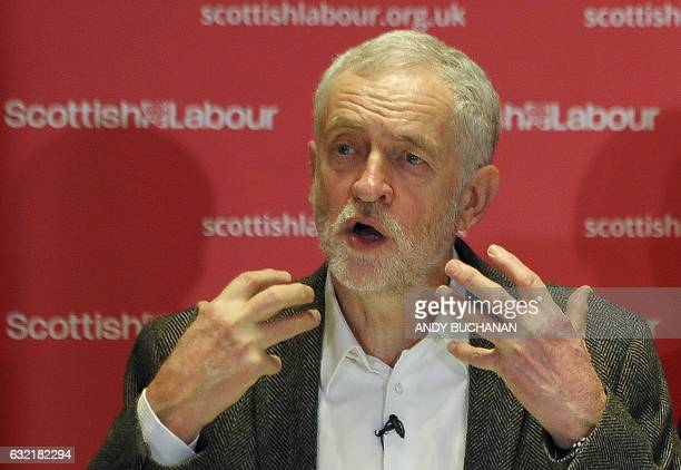 British opposition Labour Party leader Jeremy Corbyn speaks during an event for party activists at Glasgow City Halls in Glasgow on January 20 2017...