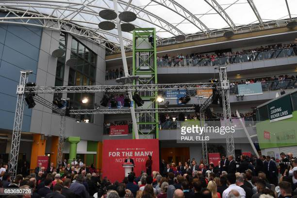 British opposition Labour party leader Jeremy Corbyn speaks during the Labour election manifesto launch in Bradford on May 16 2017 Britain's...
