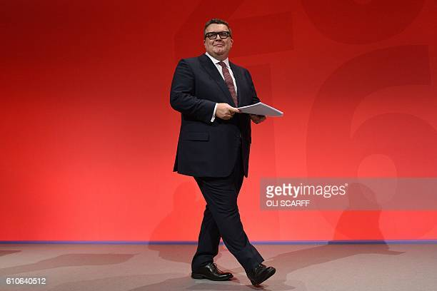 British opposition Labour party's Deputy Leader Tom Watson reacts after delivering his speech on the third day of annual Labour Party conference in...