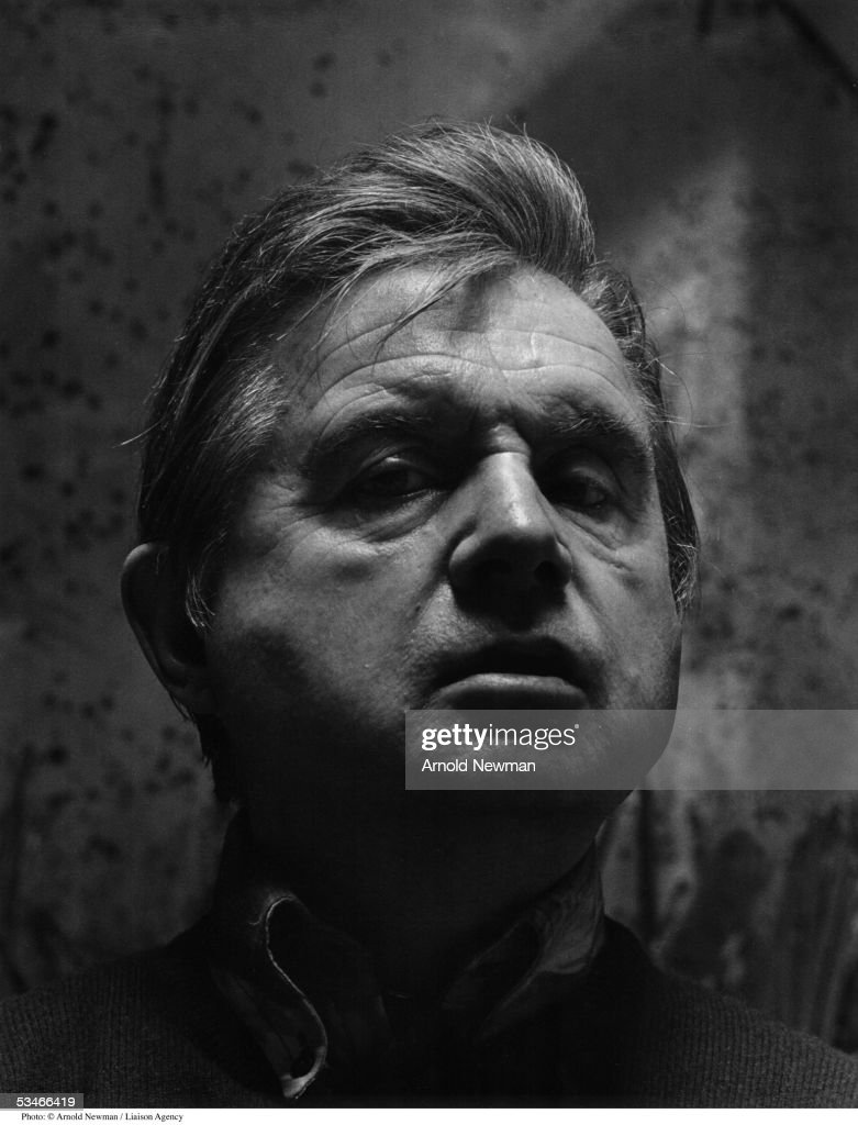 British painter Francis Bacon poses for a portrait in his studio April 26, 1975 in London, England. Bacon is best known for his bizarre expressionistic portraits.