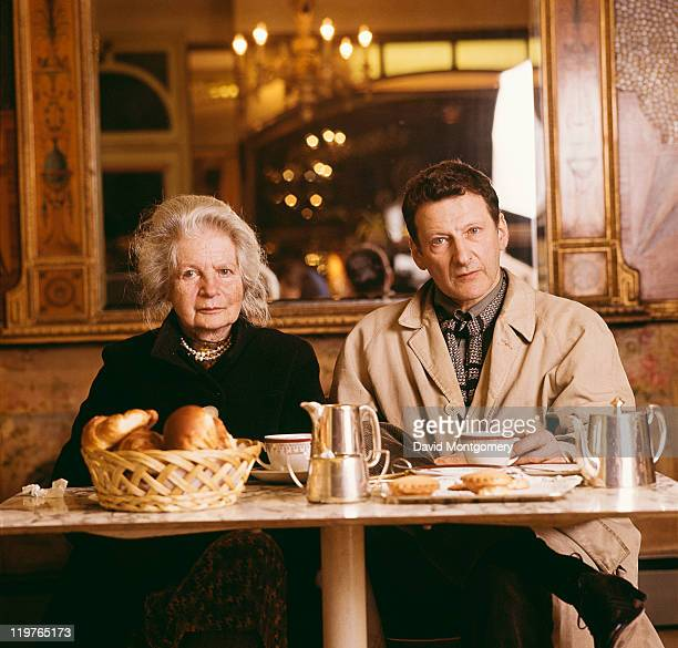 British painter Lucian Freud with his mother Lucie at the Sagne Coffee Shop on Marylebone High Street London circa 1980