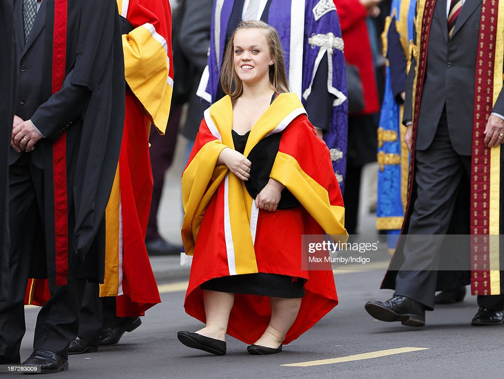 British Paralympian Ellie Simmonds attends a service at Bath Abbey during which she received an Honorary Degree from the newly installed Chancellor of the University of Bath, Prince Edward, Earl of Wessex on November 7, 2013 in Bath, England.