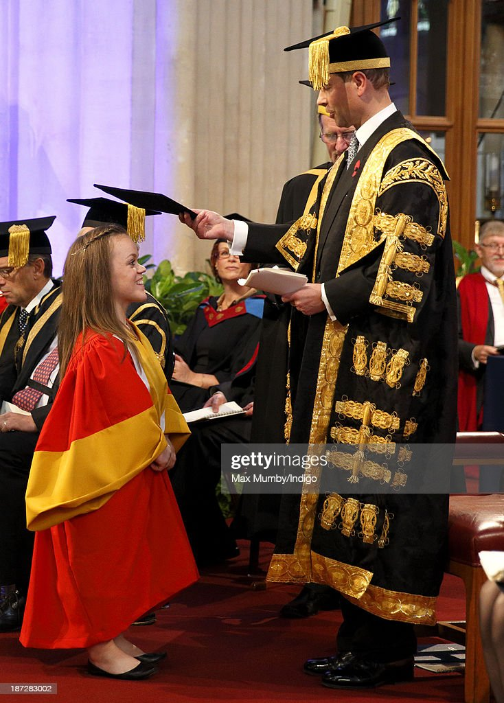 British Paralympian Ellie Simmonds receives an Honorary Degree from the newly installed Chancellor of the University of Bath <a gi-track='captionPersonalityLinkClicked' href=/galleries/search?phrase=Prince+Edward+-+Earl+of+Wessex&family=editorial&specificpeople=160185 ng-click='$event.stopPropagation()'>Prince Edward</a>, Earl of Wessex during a service at Bath Abbey on November 7, 2013 in Bath, England.