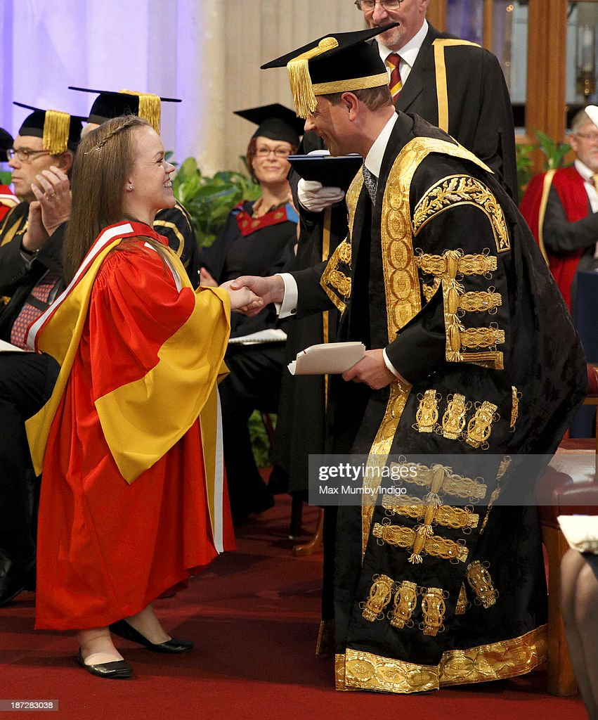 British Paralympian Ellie Simmonds receives an Honorary Degree from the newly installed Chancellor of the University of Bath Prince Edward, Earl of Wessex during a service at Bath Abbey on November 7, 2013 in Bath, England.