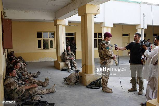 British paratrooper from 3rd Battalion The Parachute Regiment A Company Commander Maj Matthew Cansdale from Winchester England gives an interview to...