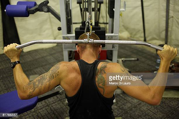 British paratrooper from 3rd Battalion The Parachute Regiment Pte Scott Dixon 28yearsold from London is seen as he exercises at the gym during his...