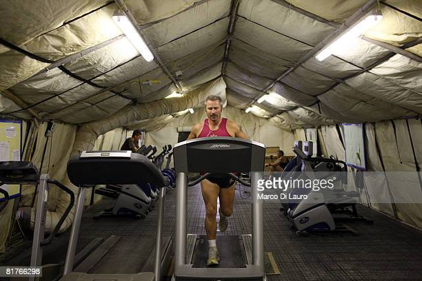 British paratrooper from 3rd Battalion The Parachute Regiment RSM John Hardy 39yearsold from Colchester is seen as he exercises at the gym during his...
