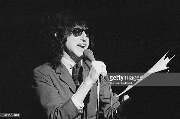 British performance poet John Cooper Clarke performing on stage March 1979