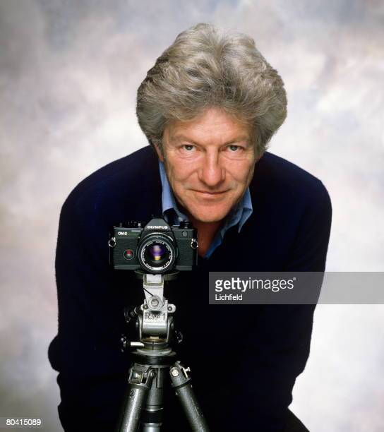 British photographer Lord Lichfield photographed in his Studio with an Olympus OM2 Spot Camera on 18th January 1985 for the cover of his...