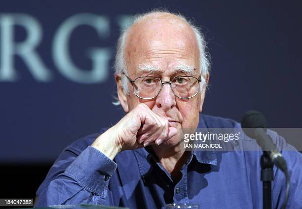 British Physicist Peter Higgs recipient of The Nobel Prize for Physics attends a press conference in The Playfair Library Old College University of...