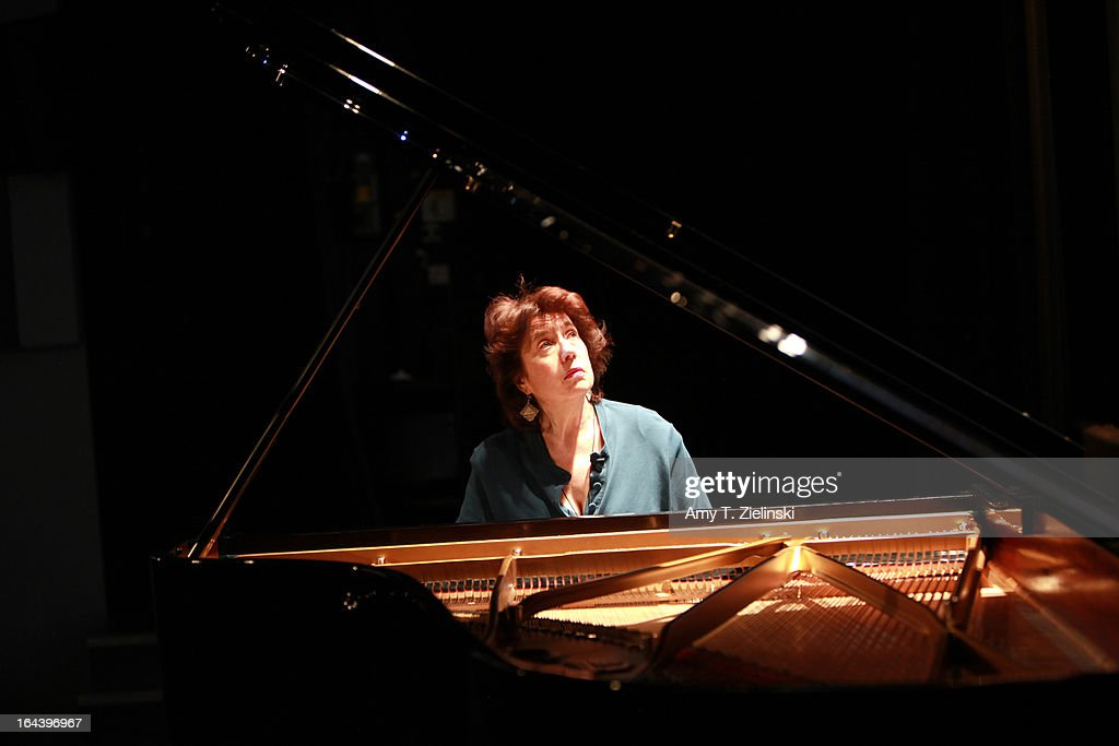British pianist Imogen Cooper rehearses before a performance of an all Schubert program at a Steinway grand piano on stage in Cine Lumiere during 'It's All About Piano!' festival inside the The Institut Francais on March 23, 2013 in London, England. The festival is a collaboration from French Music Office to celebrate the piano with recitals from classical to jazz, film screenings, children's activities, workshops and cinema screenings exploring the musical instrument.