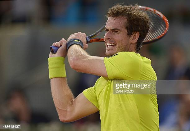 British player Andy Murray reacts during his men's singles second round tennis match against Spanish player Nicolas Almagro at the Madrid Masters at...