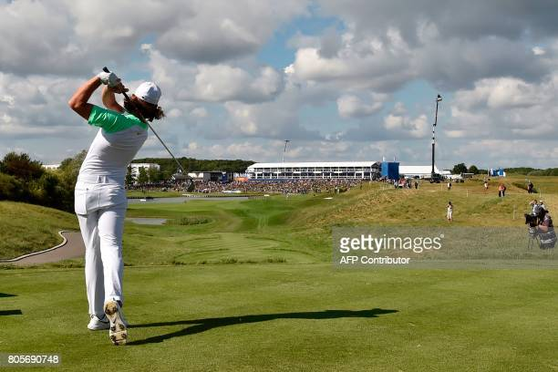 British player Tommy Fleetwood competes during the HNA Open de France golf tournament on July 2 2017 at Le Golf National in Guyancourt near Paris...