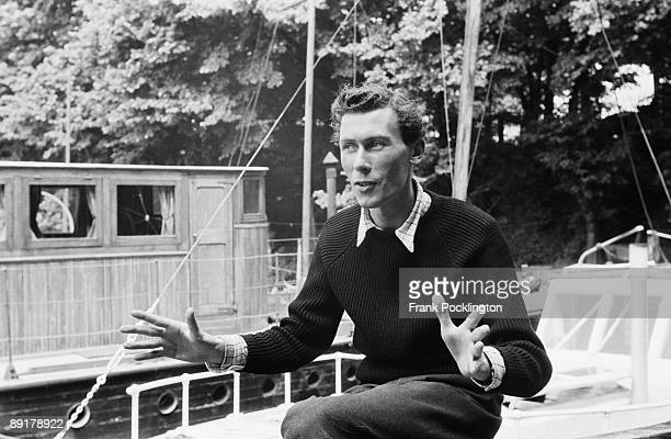 British playwright and actor John Osborne on his houseboat in Chiswick 1956 Osborne's play 'Look Back In Anger' is enjoying success at the Royal...