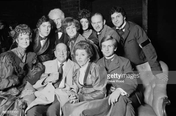 British playwright and director Noel Coward with actors including Millicent Martin Gary Bond and Gillian Lynne at the Fortune Theatre London UK 10th...